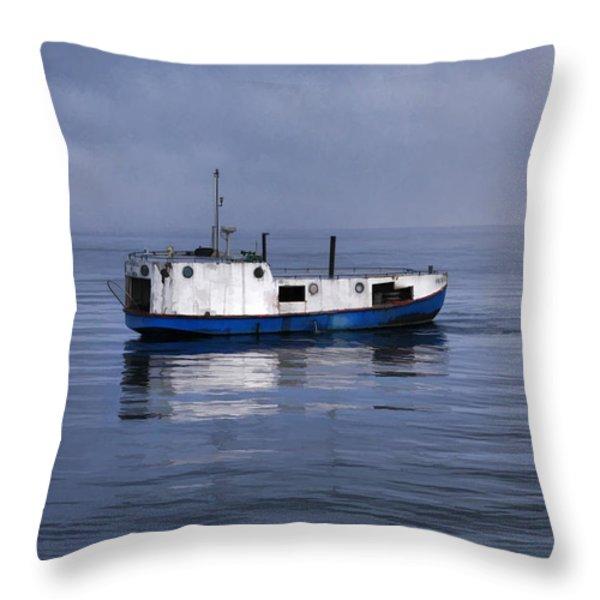 Door County Gills Rock Trawler Throw Pillow by Christopher Arndt