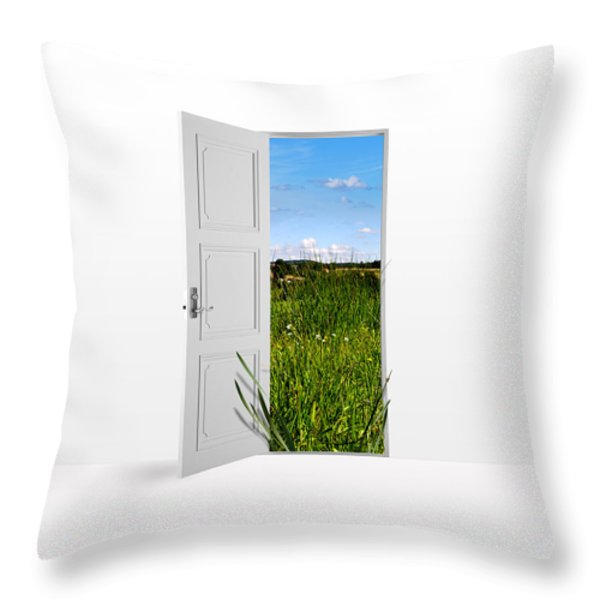 Door To Nature Throw Pillow by Aged Pixel