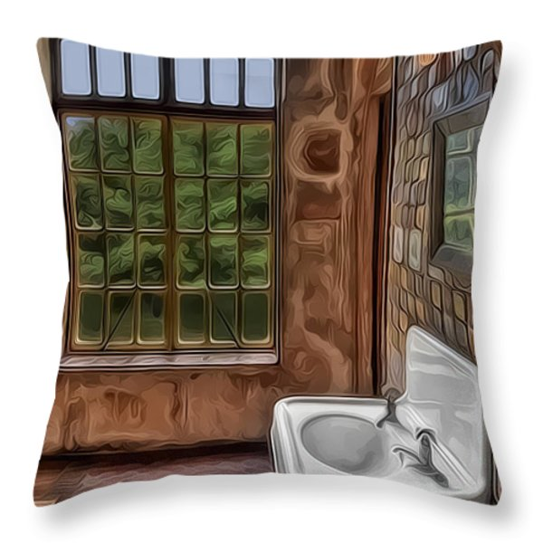 Dormer And Bathroom Throw Pillow by Susan Candelario