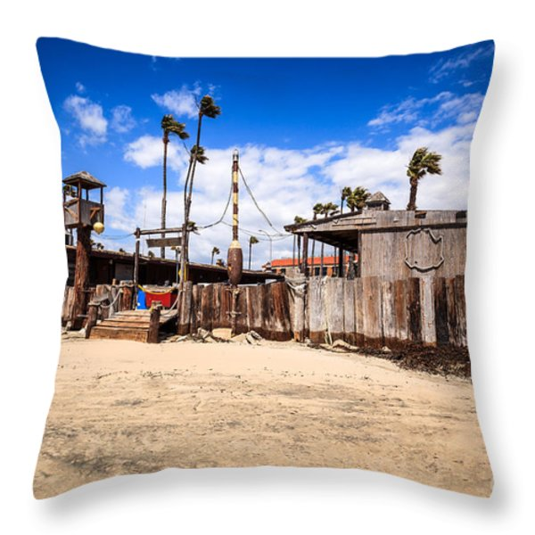 Dory Fishing Fleet Market in Newport Beach California Throw Pillow by Paul Velgos