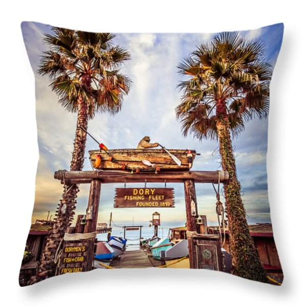 Dory Fishing Fleet Market Picture Newport Beach Throw Pillow by Paul Velgos