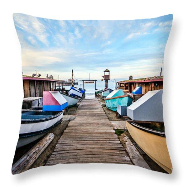 Dory Fishing Fleet Newport Beach California Throw Pillow by Paul Velgos