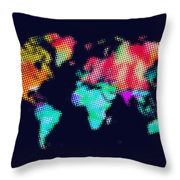 Dotted World Map 3 Throw Pillow by Naxart Studio