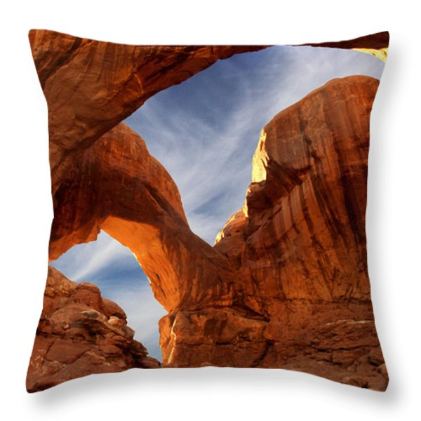 Double Arch - Utah Throw Pillow by Mike McGlothlen