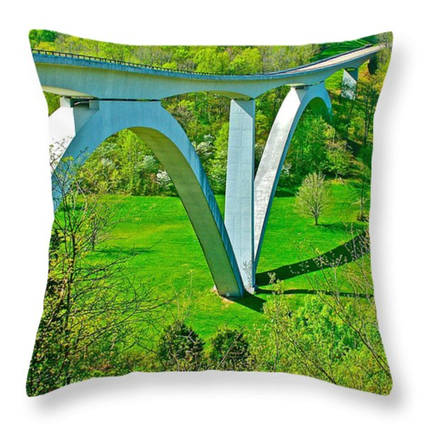 Double-arched Bridge Spanning Birdsong Hollow At Mile 438 Of Natchez Trace Parkway-tennessee Throw Pillow by Ruth Hager