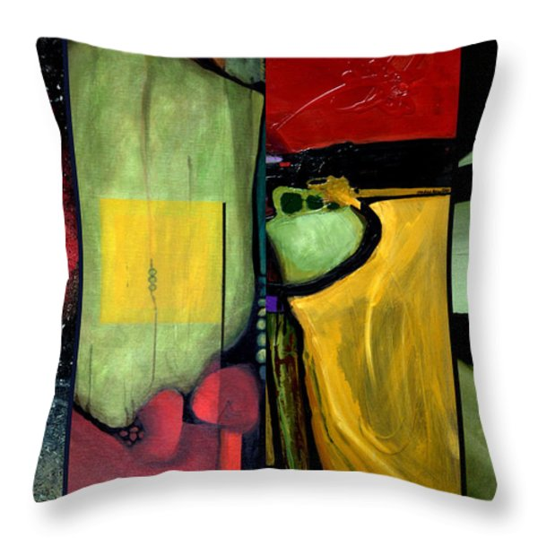 Double Diptychin' Throw Pillow by Marlene Burns
