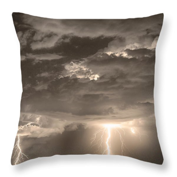 Double Lightning Strikes in Sepia HDR Throw Pillow by James BO  Insogna