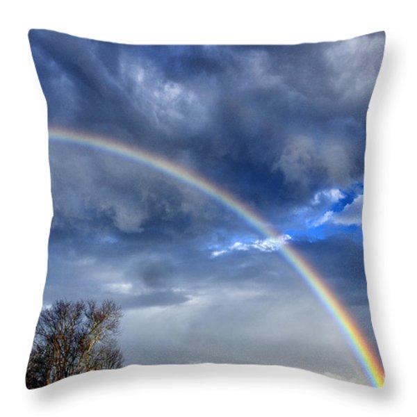 Double Rainbow over Mountain Throw Pillow by Thomas R Fletcher
