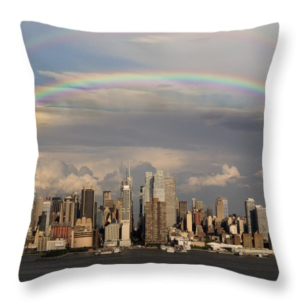 Double Rainbow Over NYC Throw Pillow by Susan Candelario