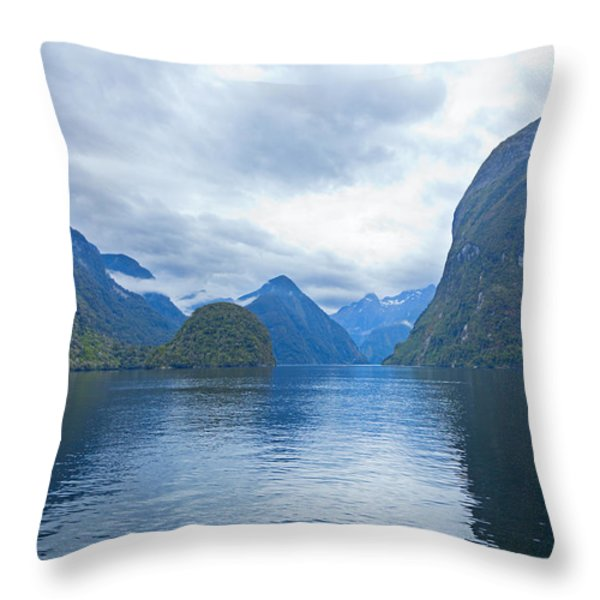 Doubtful Sound Reflections Throw Pillow by Alexey Stiop