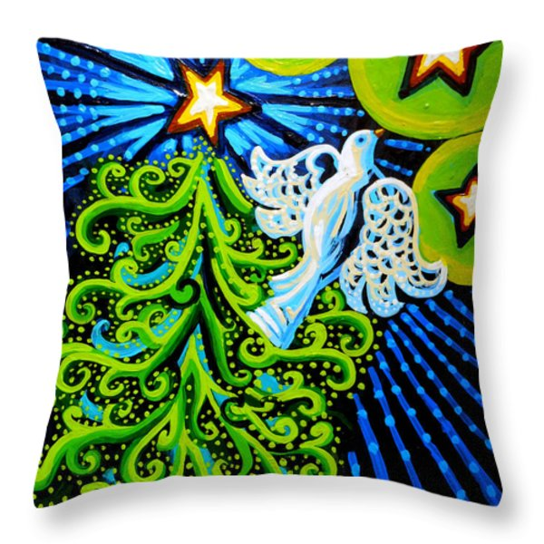 Dove And Christmas Tree Throw Pillow by Genevieve Esson