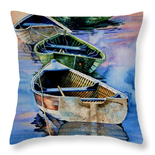 Down East Dories At Dawn Throw Pillow by Hanne Lore Koehler
