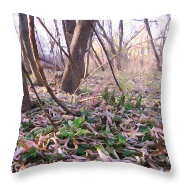 Down Here - Digital Painting Effect Throw Pillow by Rhonda Barrett