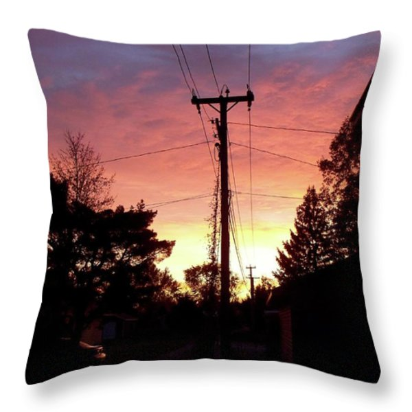 Down The Alley Sunrise Throw Pillow by Thomas Woolworth