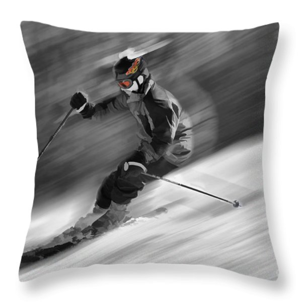 Downhill Skier  Throw Pillow by Dan Friend