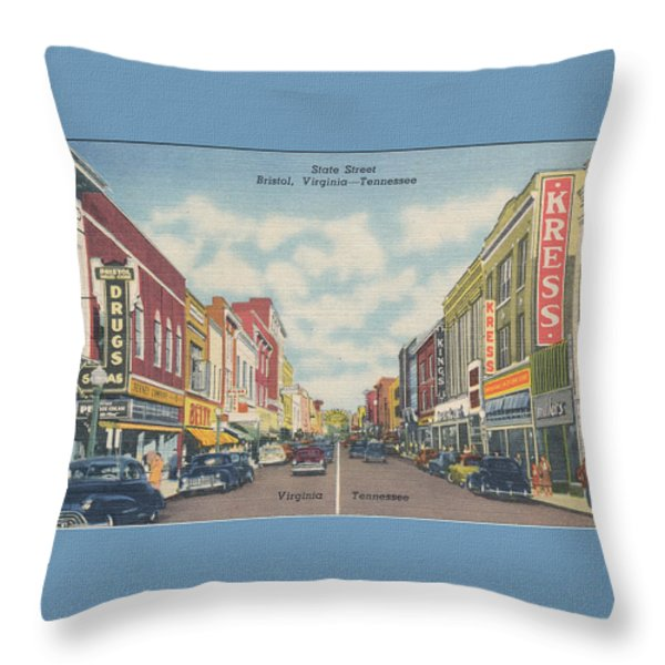 Downtown Bristol Va Tn 1940's Throw Pillow by Denise Beverly