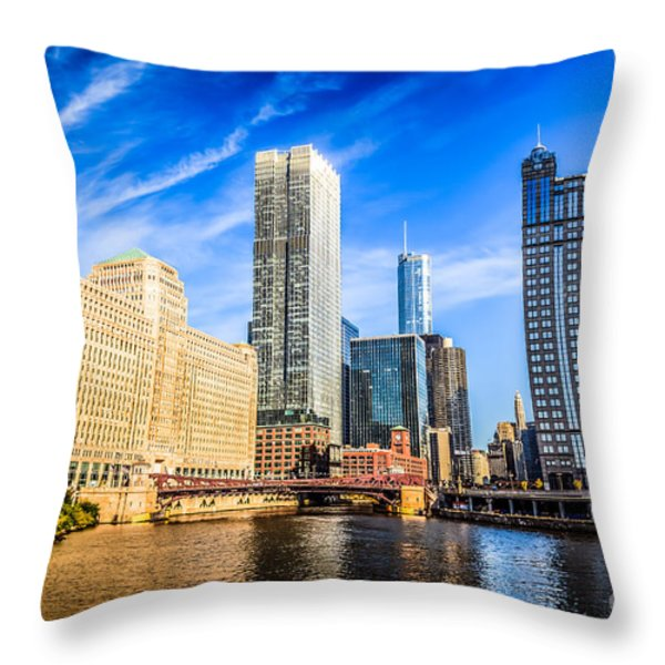 Downtown Chicago at Franklin Street Bridge Picture Throw Pillow by Paul Velgos
