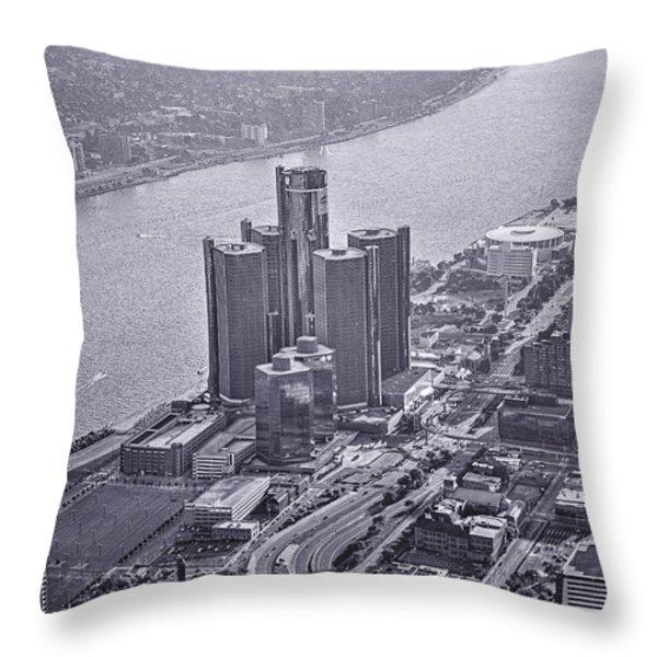 Downtown Detroit Throw Pillow by Nicholas  Grunas