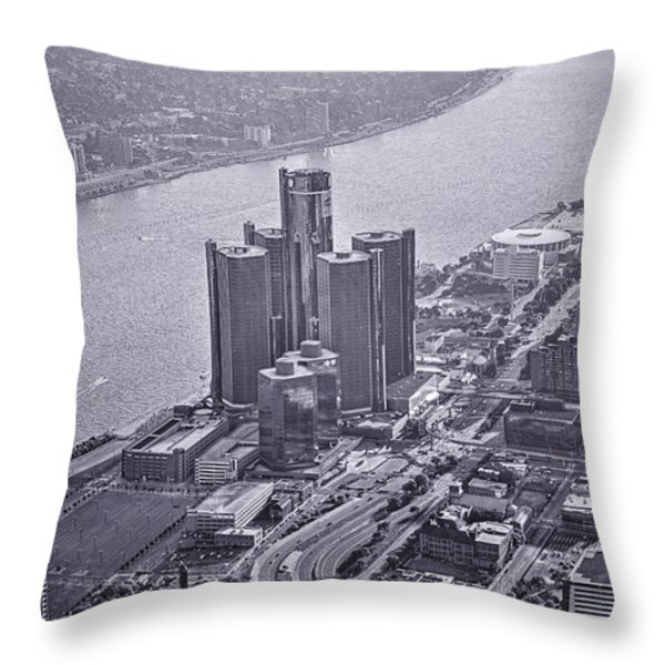 Downtown Detroit Throw Pillow by Nicholas  Grunas