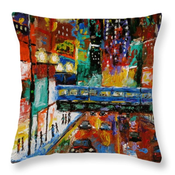 Downtown Friday Night Throw Pillow by J Loren Reedy