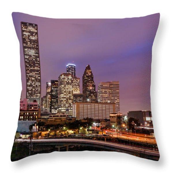 Downtown Houston Texas Skyline Beating Heart of a Bustling City Throw Pillow by Silvio Ligutti