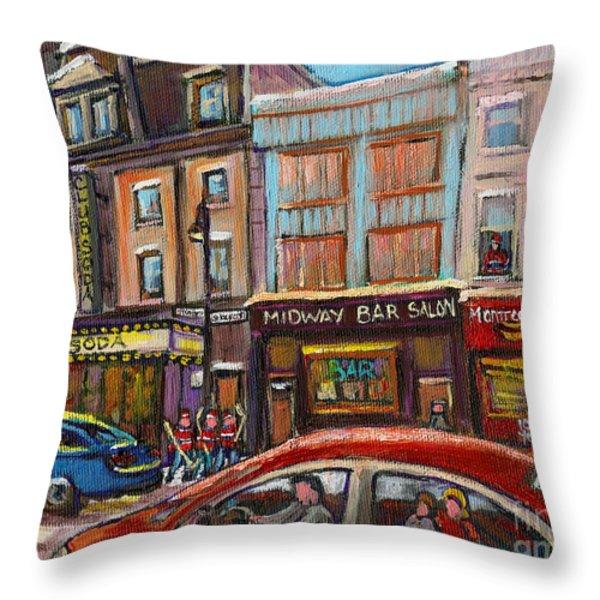Downtown Montreal Streetscene Throw Pillow by Carole Spandau
