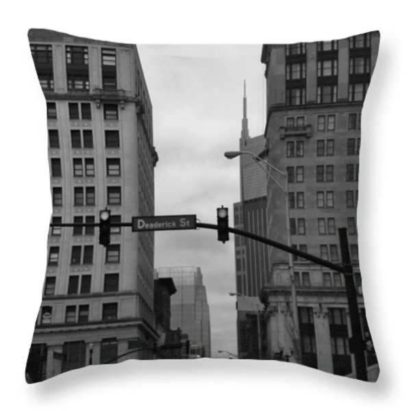 Downtown Nashville In Black And White Throw Pillow by Dan Sproul