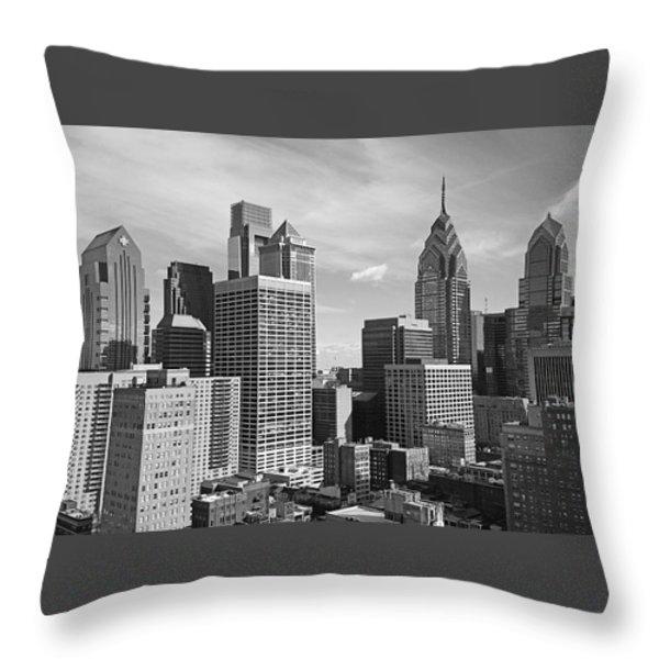 Downtown Philadelphia Throw Pillow by Rona Black