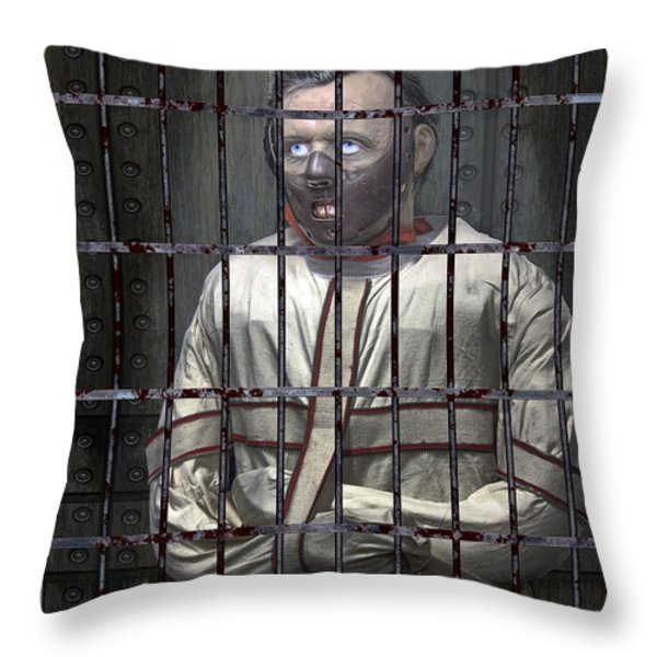 Dr. Lecter Restrained Throw Pillow by Daniel Hagerman