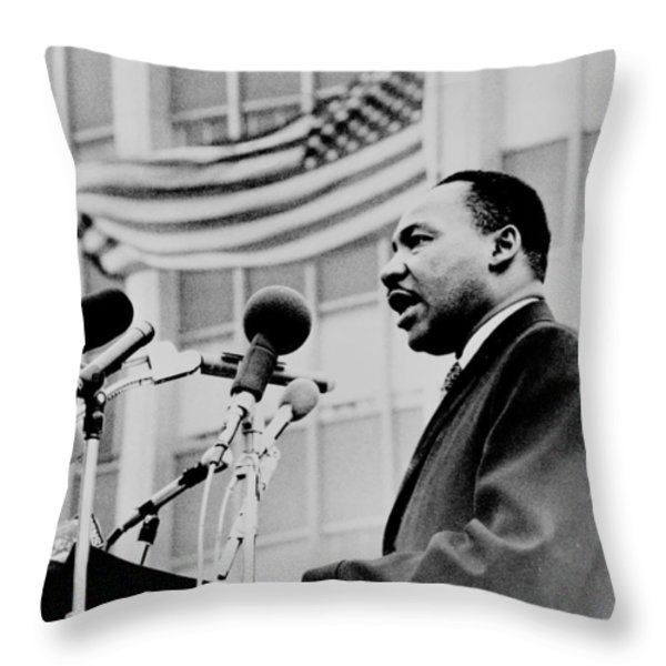 Dr Martin Luther King Jr Throw Pillow by Benjamin Yeager