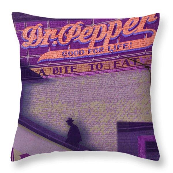 Dr Pepper Blues Throw Pillow by Tony Rubino