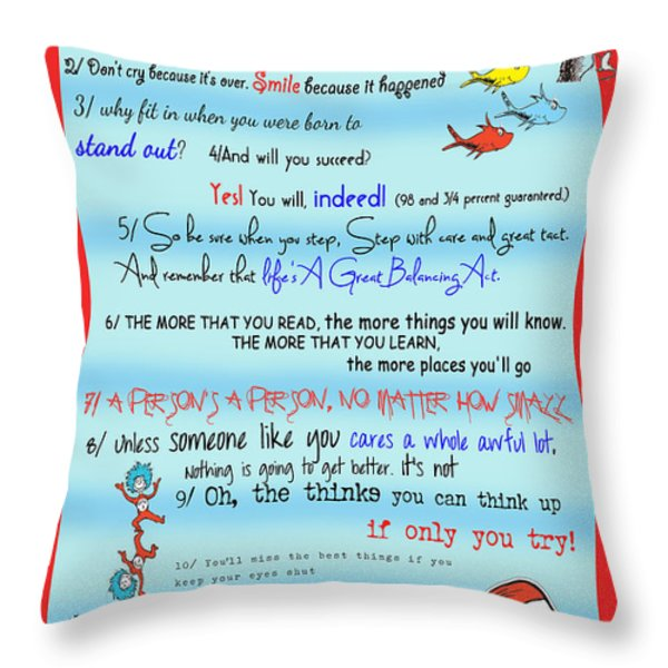 Dr Seuss - Quotes to Change Your Life Throw Pillow by Georgia Fowler