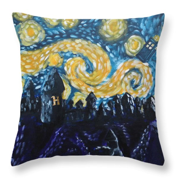 Dr Who Hogwarts Starry Night Throw Pillow by Jera Sky