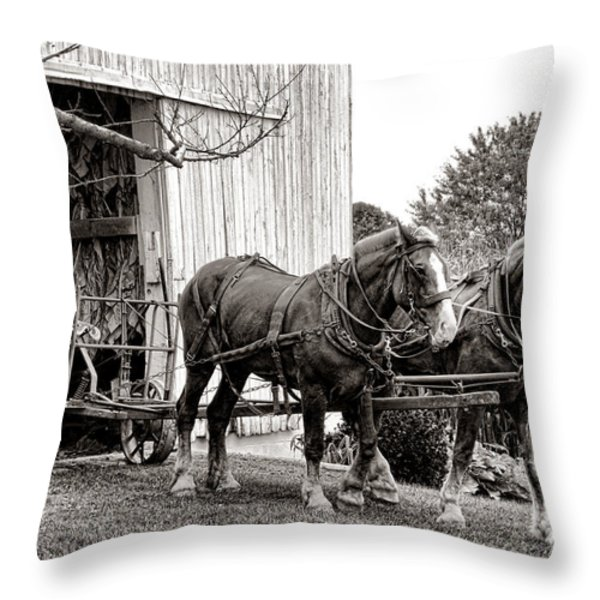 Draft Horses at Work Throw Pillow by Olivier Le Queinec