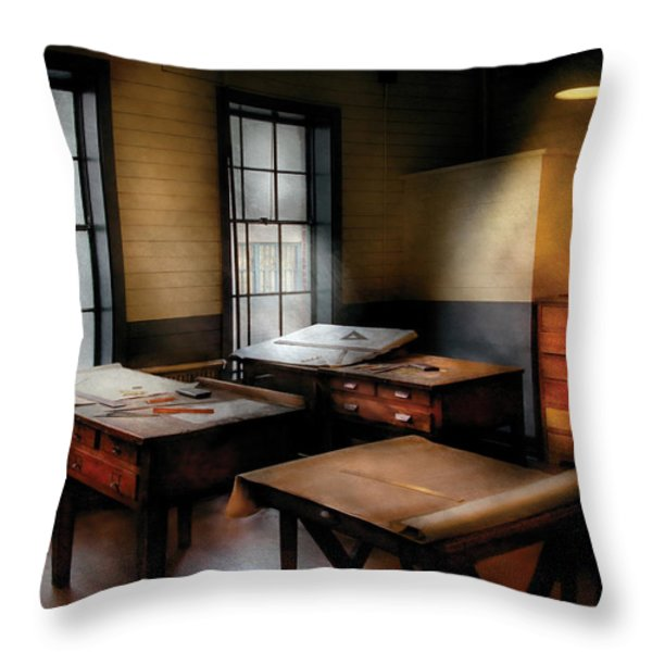 Draftsman - The Drafting room Throw Pillow by Mike Savad