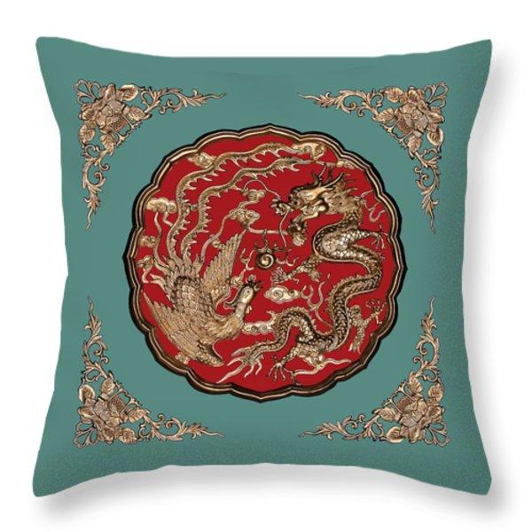 Dragon And Phoenix Throw Pillow by Kristin Elmquist