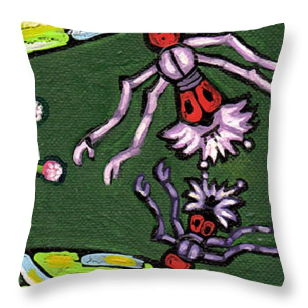 Dragonflies And Water Lilies Throw Pillow by Genevieve Esson