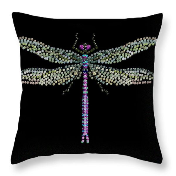 Dragonfly Bedazzled Throw Pillow by R  Allen Swezey