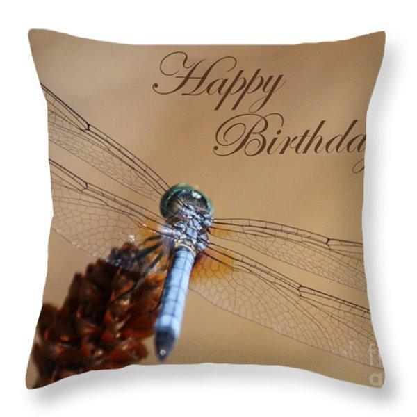 Dragonfly Birthday Card Throw Pillow by Carol Groenen