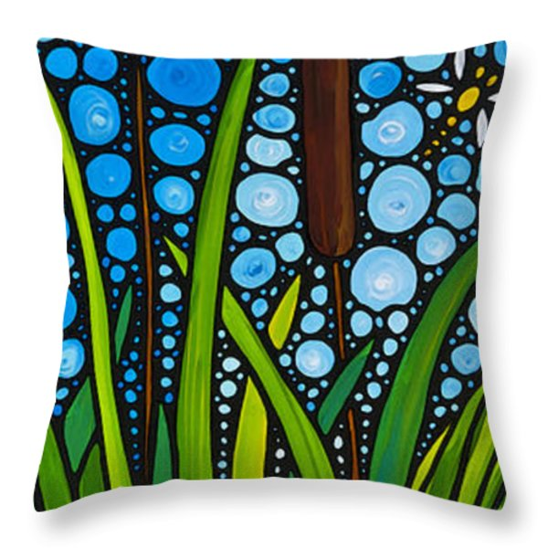 Dragonfly Pond by Sharon Cummings Throw Pillow by Sharon Cummings