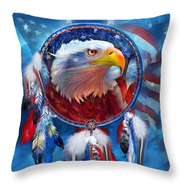 Dream Catcher - Eagle Red White Blue Throw Pillow by Carol Cavalaris