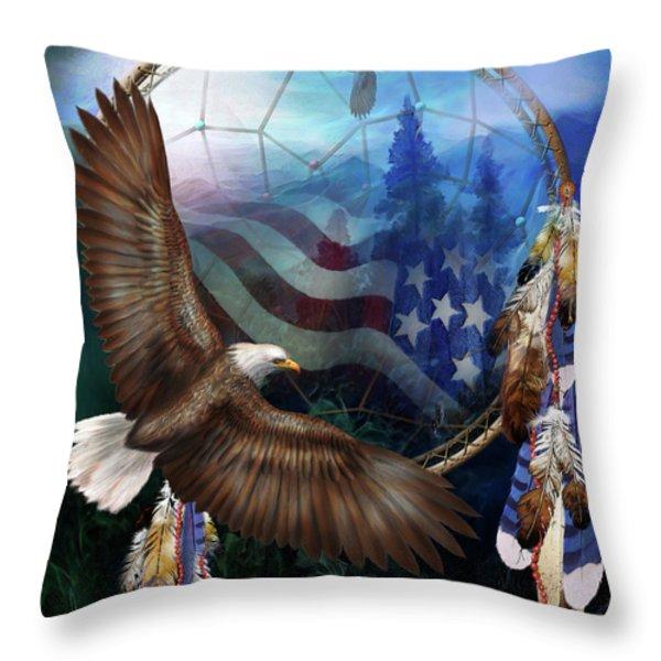 Dream Catcher - Freedom's Flight Throw Pillow by Carol Cavalaris