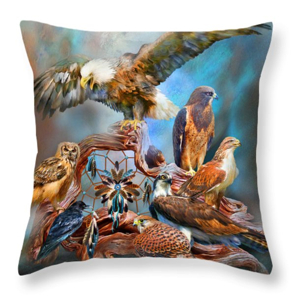 Dream Catcher - Spirit Birds Throw Pillow by Carol Cavalaris