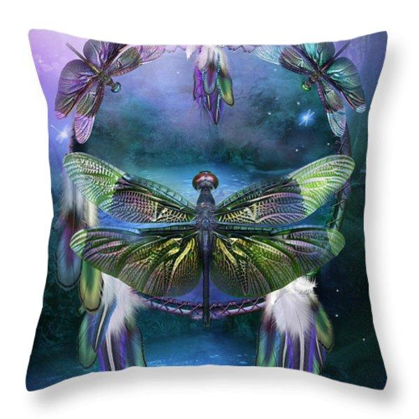 Dream Catcher - Spirit Of The Dragonfly Throw Pillow by Carol Cavalaris