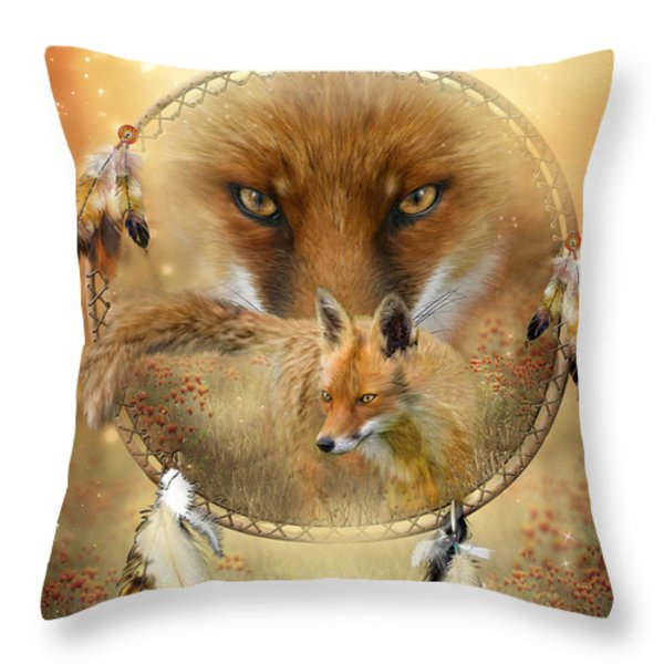 Dream Catcher- Spirit Of The Red Fox Throw Pillow by Carol Cavalaris