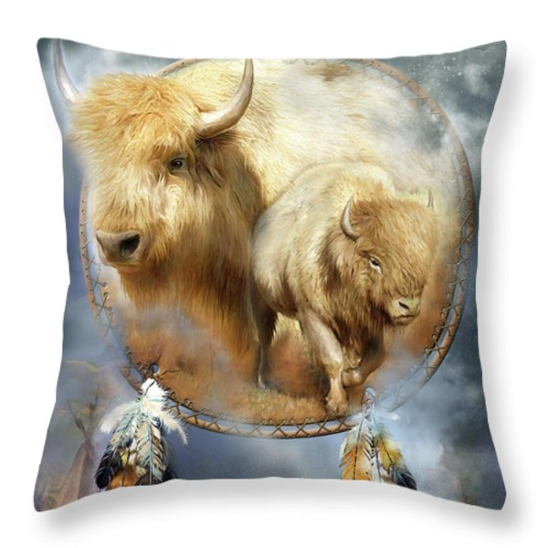 Dream Catcher - Spirit Of The White Buffalo Throw Pillow by Carol Cavalaris