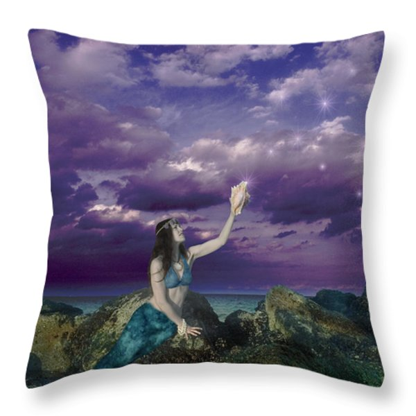 Dream Mermaid Throw Pillow by Alixandra Mullins