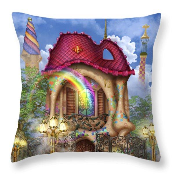 Dreams Of Gaudi Throw Pillow by Ciro Marchetti