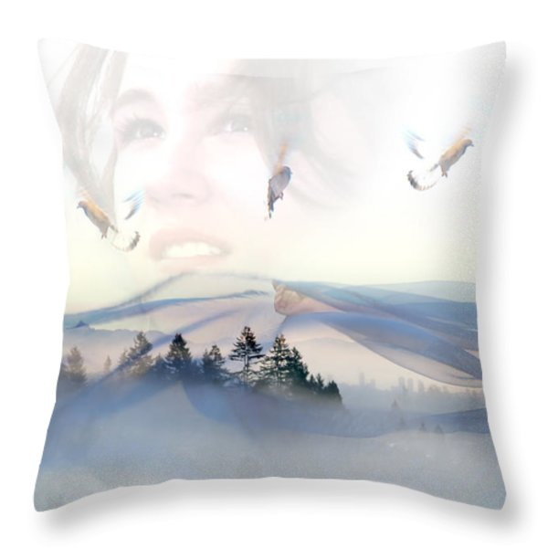 Dreams Soar Throw Pillow by Lisa Knechtel