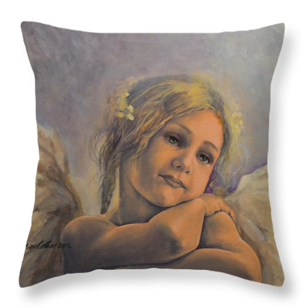 Dreamy Angel Throw Pillow by Dorina  Costras